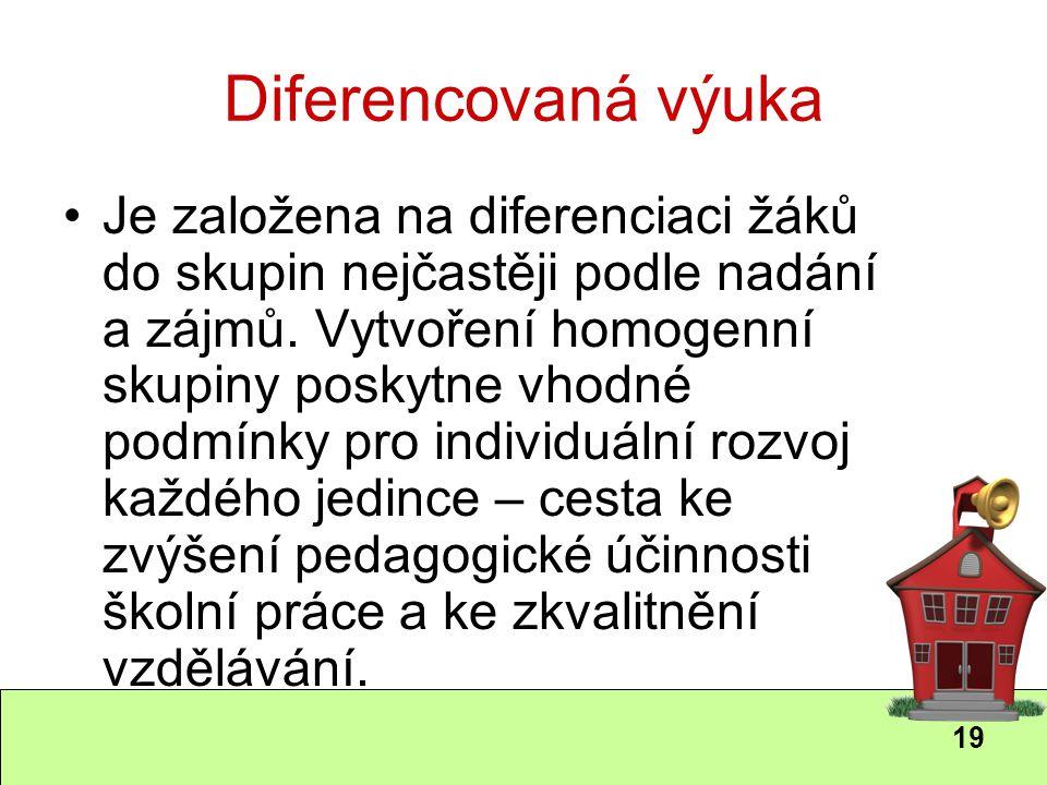 19 Diferencovaná výuka Je založena na diferenciaci žáků do skupin nejčastěji podle nadání a zájmů. Vytvoření homogenní skupiny poskytne vhodné podmínk