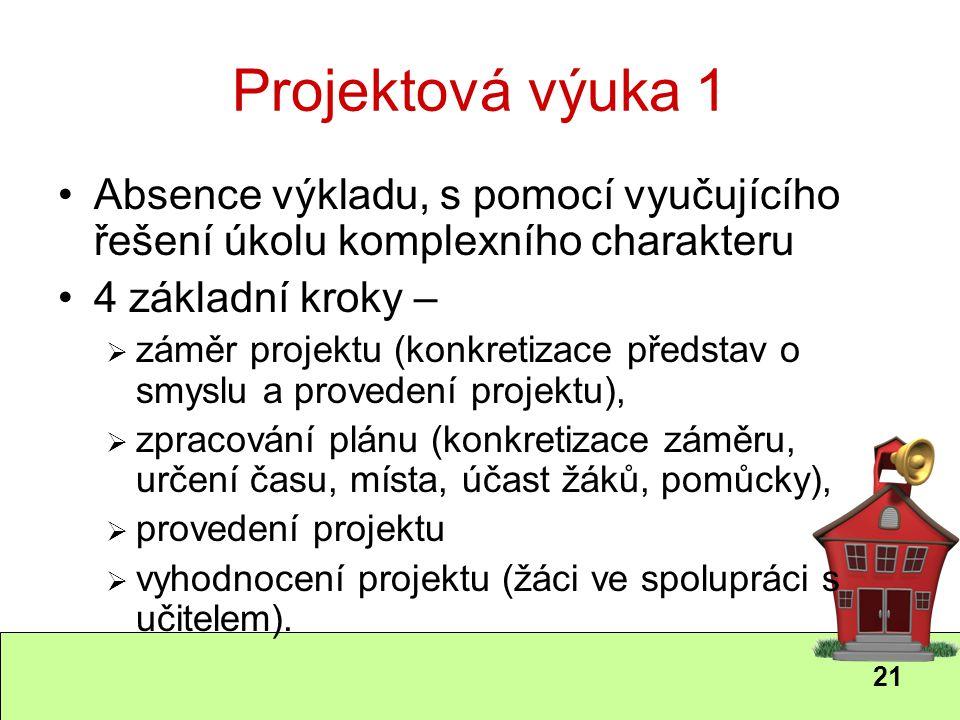 21 Projektová výuka 1 Absence výkladu, s pomocí vyučujícího řešení úkolu komplexního charakteru 4 základní kroky –  záměr projektu (konkretizace před