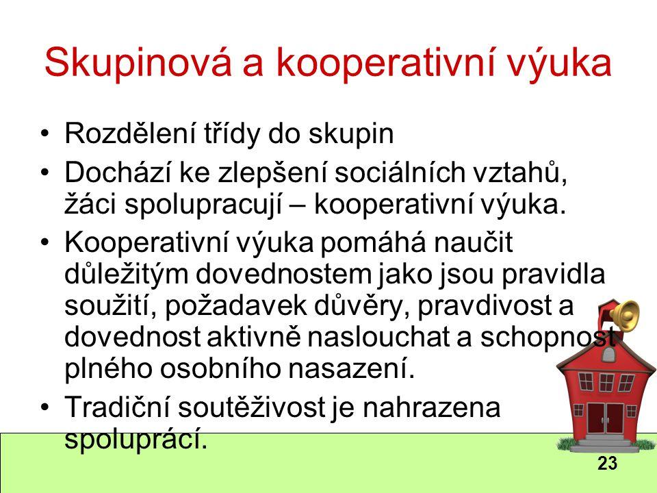 23 Skupinová a kooperativní výuka Rozdělení třídy do skupin Dochází ke zlepšení sociálních vztahů, žáci spolupracují – kooperativní výuka. Kooperativn