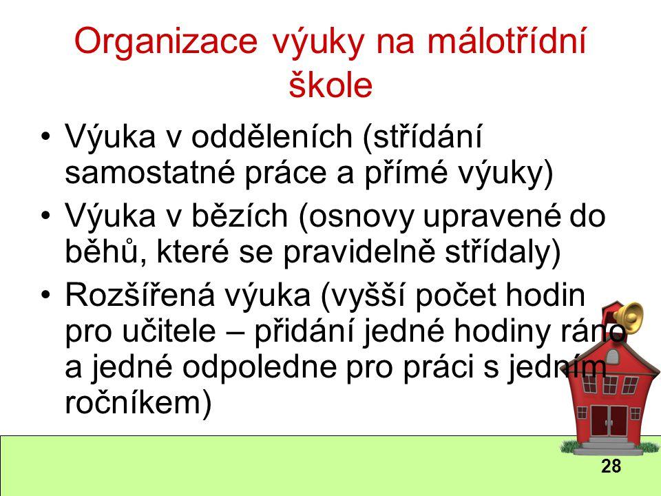28 Organizace výuky na málotřídní škole Výuka v odděleních (střídání samostatné práce a přímé výuky) Výuka v bězích (osnovy upravené do běhů, které se