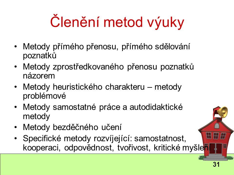 31 Členění metod výuky Metody přímého přenosu, přímého sdělování poznatků Metody zprostředkovaného přenosu poznatků názorem Metody heuristického chara