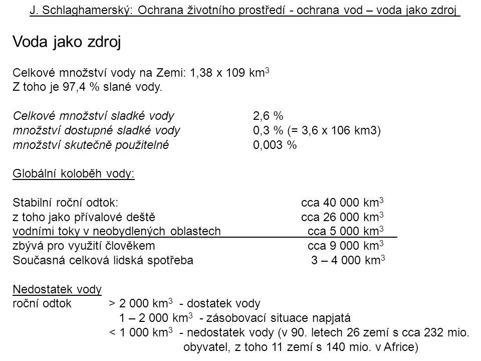 J. Schlaghamerský: Ochrana životního prostředí - ochrana vod – voda jako zdroj Voda jako zdroj Celkové množství vody na Zemi: 1,38 x 109 km 3 Z toho j