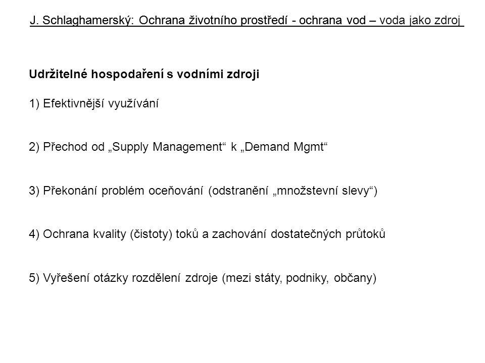 """J. Schlaghamerský: Ochrana životního prostředí - ochrana vod Udržitelné hospodaření s vodními zdroji 1) Efektivnější využívání 2) Přechod od """"Supply M"""