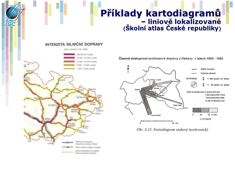 Příklady kartodiagramů – liniově lokalizované ( Školní atlas České republiky )