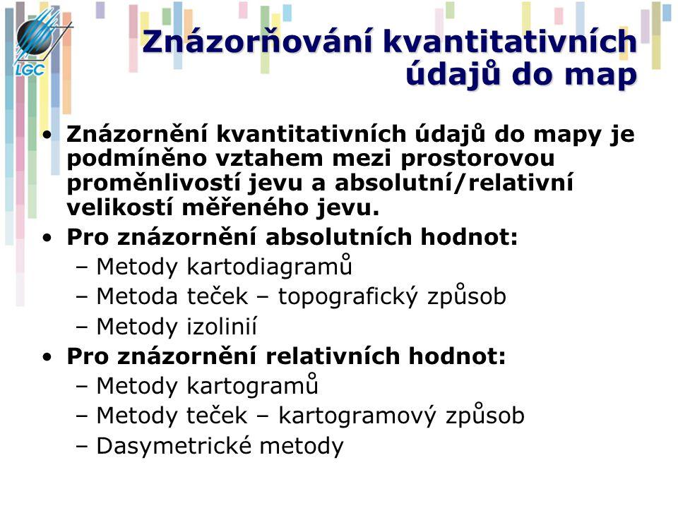 Příklady izolinií Izohypsa = vrstevnice Izobata = hloubnice Izobara – tlak Izohyeta – srážky Izoterma – teploty Izohélie – sluneční svit Izochrona – čas Izogona – stejná magnetická deklinace Izodeformáta = ekvideformáta – stejná deformace (např.