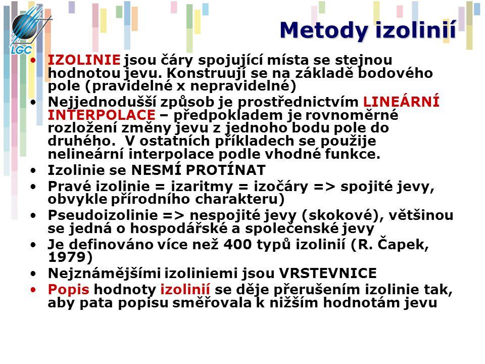Metody izolinií IZOLINIE jsou čáry spojující místa se stejnou hodnotou jevu.