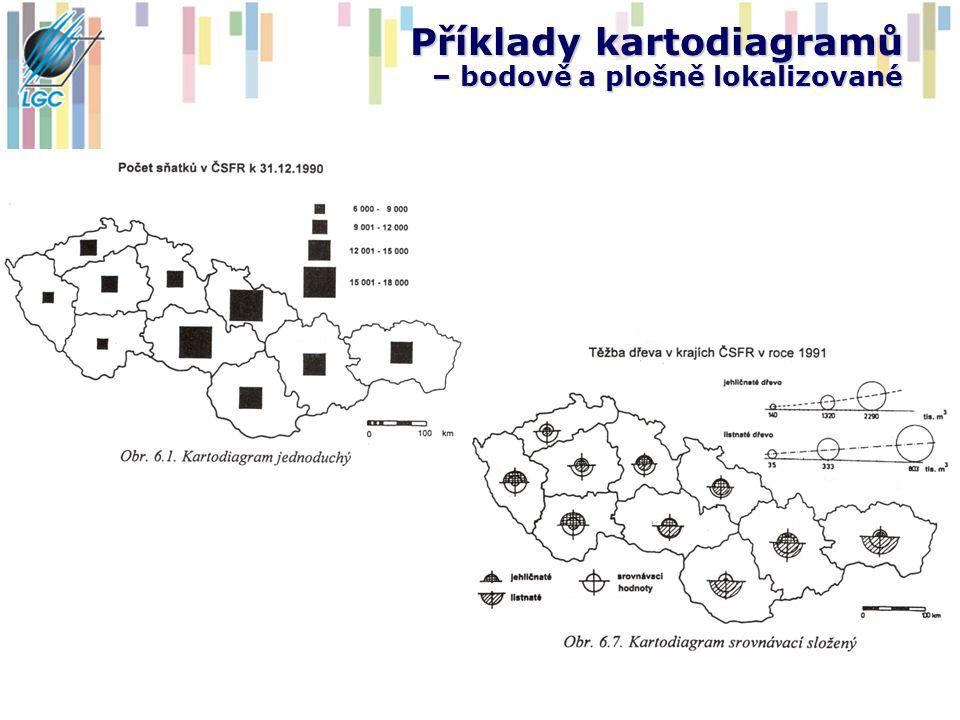 Metody kartogramu Kartogram je mapa s dílčími územními celky, do kterých jsou plošným způsobem znázorněny RELATIVNÍ hodnoty statistických dat Kvantitativní data jsou přepočtena na jednotku plochy dílčího územního celku (počet obyvatel na Km 2 ) Pokud nejsou data přepočtena na plochy dílčích územních jednotek a přebírají jen vnější formu kartogramu, jedná se o PSEUDOKARTOGRAMY, které v žádném případě nemohou vystihnout srovnatelnou intenzitu jevu v ploše Vnější formu kartogramu představují dílčí územní jednotky vyplněné v ploše barevnými odstíny nebo rastrem, které reagují na relativní velikost sledovaného jevu Rastry či odstíny jsou sestaveny do posloupnosti, při jejíž tvorbě se bere ohled zvláště na vyjádření intenzity, ale je brán ohled i na konkrétní strukturu sledovaného jevu (bipolárnost) -> viz TVORBA ŠKÁL Kaňok (1999) definuje 22 konstrukčně odlišných kartogramů (jednoduchý, korelační, strukturní, čarový, prostorový …), nejčastěji používané jsou však ty nejjednodušší