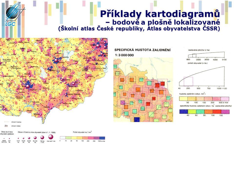 Příklady kartodiagramů – plošně lokalizované (Atlas krajiny Slovenské republiky)