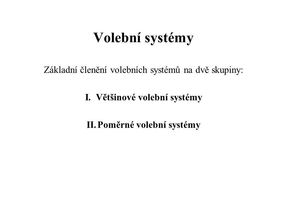 Volební systémy Základní členění volebních systémů na dvě skupiny: I.Většinové volební systémy II.Poměrné volební systémy