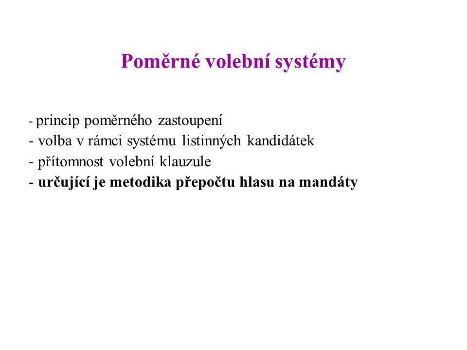 Poměrné volební systémy - princip poměrného zastoupení - volba v rámci systému listinných kandidátek - přítomnost volební klauzule - určující je metodika přepočtu hlasu na mandáty