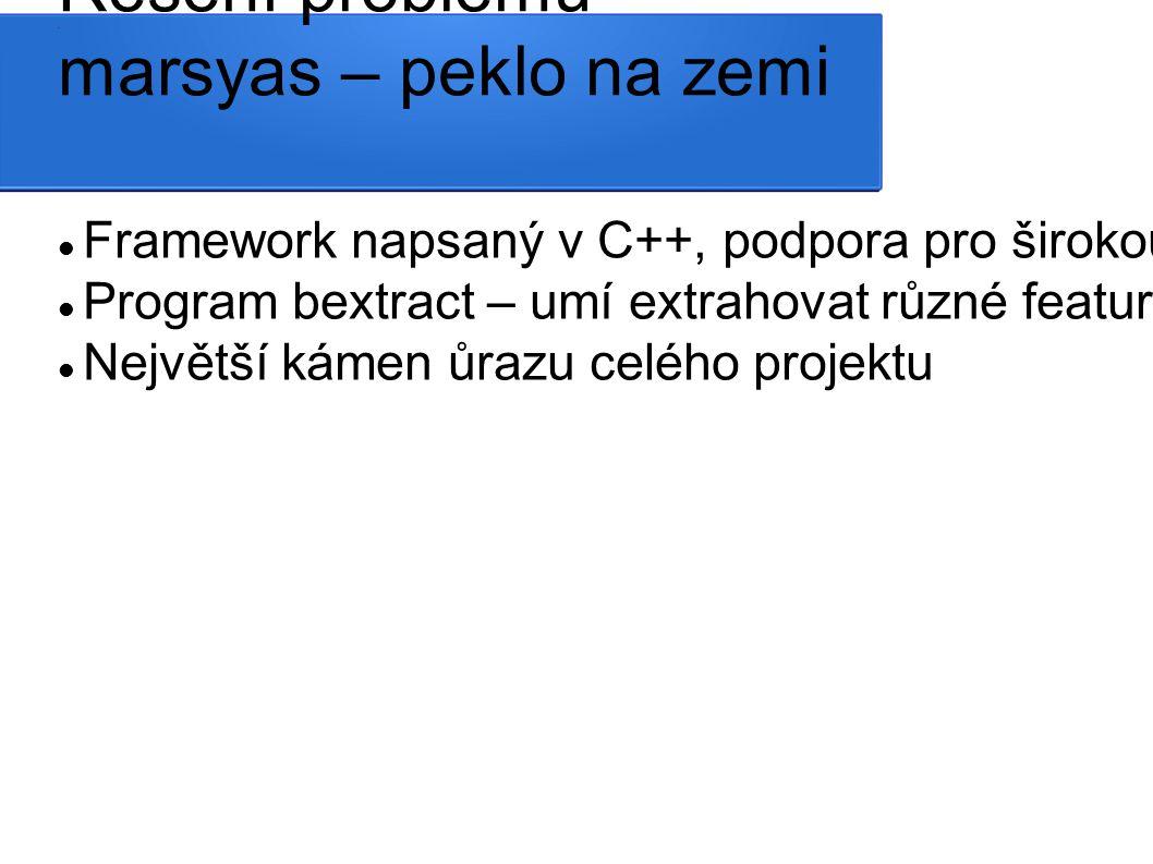 V popisu datasetu není řečeno, jaké features obsahuje, pouze že jsou dosaženy defaultním nastavením bextract (nakonec nalezen paper, který to zhruba popisuje) http://www.academia.edu/4489774/PREDICTING_THE_GEOGRAPHIC_ORIGIN_OF_WORLD_MUSICRetain_these_fake_authors_in_submission_to_preserve_the_formatting Autoři datasetu používali marsyas 0.22, který defaultně generuje 68 features / track Marsyas 0.22 není nikde online dostupný ve funkční podobě (nelze přeložit) Dostupný je marsyas 0.5, jehož bextract který má ůplně jiné ovládácí rozhraní, vrací defaultně 116 features linuxová verze navíc vrací samé nuly Win32 verzi nelze vůbec spustit Win64 verze jediná funguje a nevrací nesmysly, nereaguje ale na přepínače volby extrakce – nelze vypnout extrakci nechtěných features Řešení problému marsyas – peklo na zemi