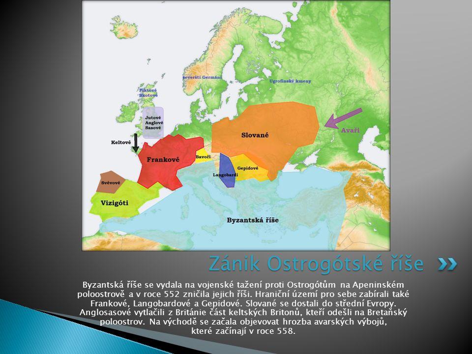 Byzantská říše se vydala na vojenské tažení proti Ostrogótům na Apeninském poloostrově a v roce 552 zničila jejich říši. Hraniční území pro sebe zabír
