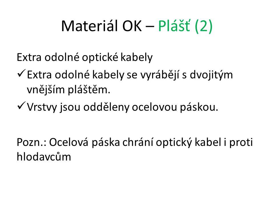 Materiál OK – Plášť (2) Extra odolné optické kabely Extra odolné kabely se vyrábějí s dvojitým vnějším pláštěm. Vrstvy jsou odděleny ocelovou páskou.