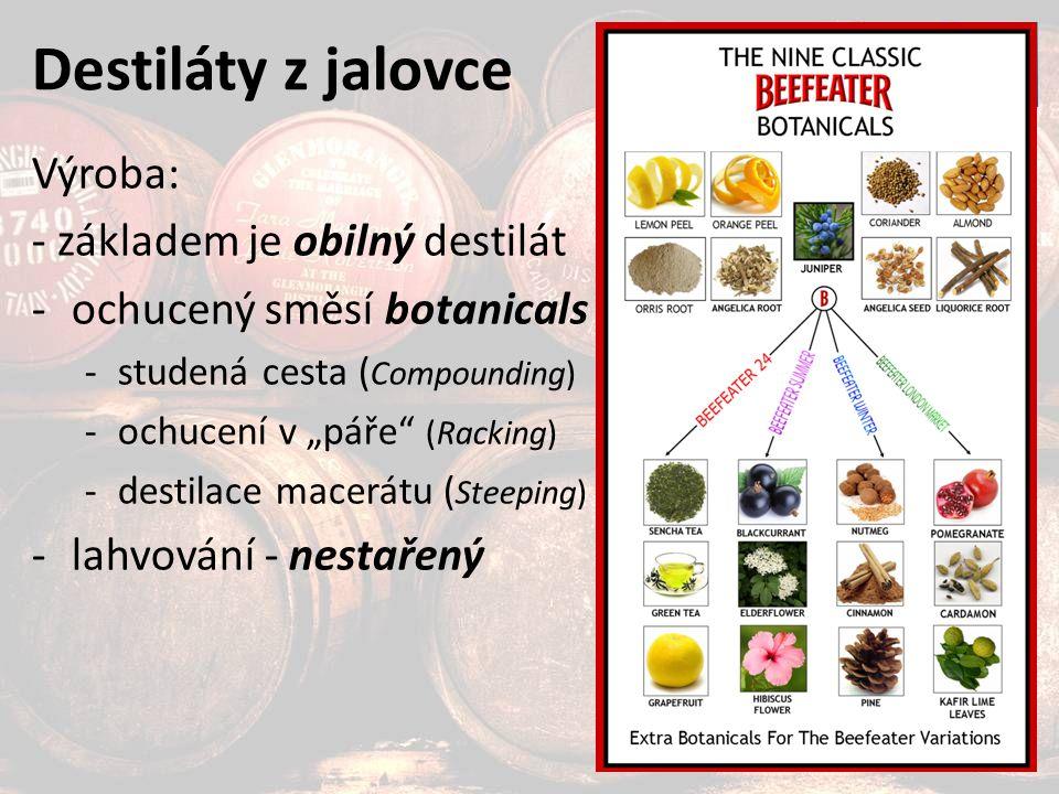 """Destiláty z jalovce Výroba: - základem je obilný destilát -ochucený směsí botanicals -studená cesta ( Compounding) -ochucení v """"páře (Racking) -destilace macerátu ( Steeping) -lahvování - nestařený"""