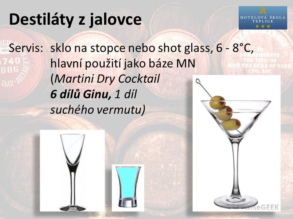 Destiláty z jalovce Servis:sklo na stopce nebo shot glass, 6 - 8°C, hlavní použití jako báze MN (Martini Dry Cocktail 6 dílů Ginu, 1 díl suchého vermutu)