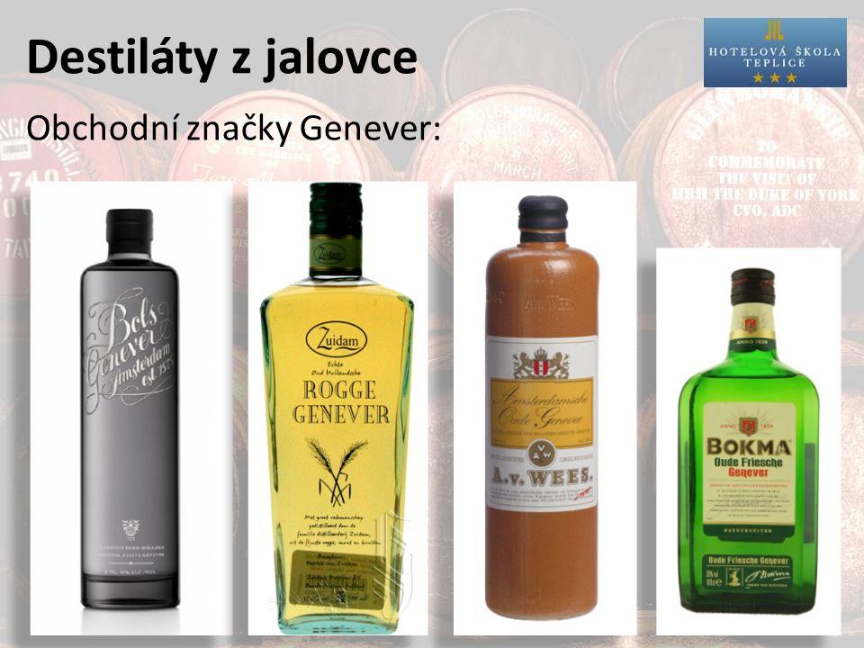 Destiláty z jalovce Obchodní značky Genever: