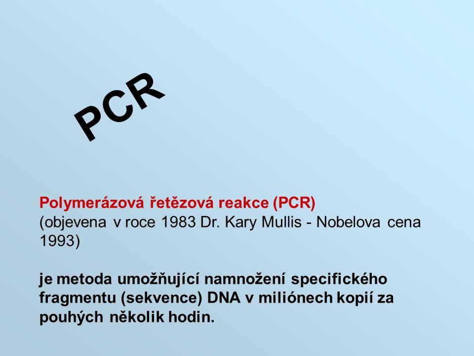 PCR Polymerázová řetězová reakce (PCR) (objevena v roce 1983 Dr. Kary Mullis - Nobelova cena 1993) je metoda umožňující namnožení specifického fragmen