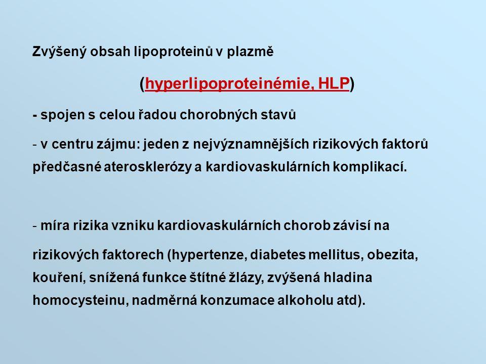 Zvýšený obsah lipoproteinů v plazmě (hyperlipoproteinémie, HLP) - spojen s celou řadou chorobných stavů - v centru zájmu: jeden z nejvýznamnějších riz