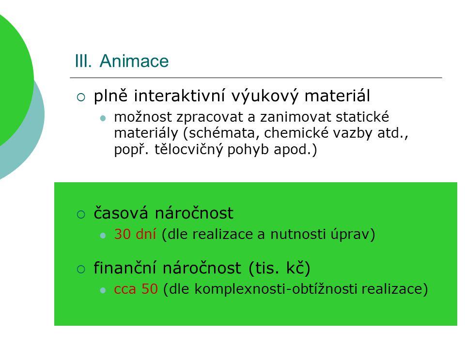 III. Animace  plně interaktivní výukový materiál možnost zpracovat a zanimovat statické materiály (schémata, chemické vazby atd., popř. tělocvičný po