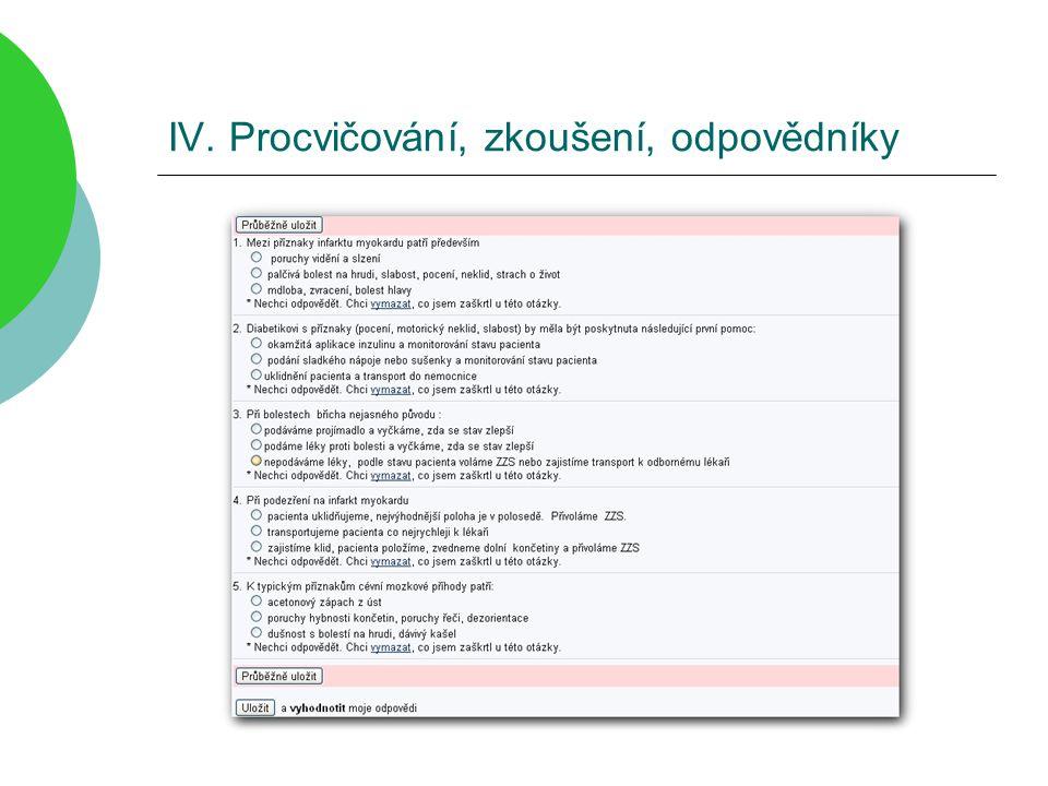 IV. Procvičování, zkoušení, odpovědníky