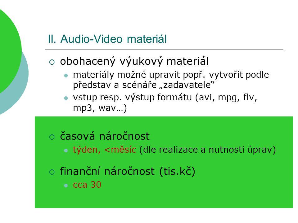 II. Audio-Video materiál  obohacený výukový materiál materiály možné upravit popř.