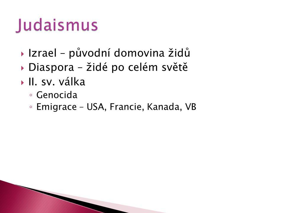  Izrael – původní domovina židů  Diaspora – židé po celém světě  II. sv. válka ◦ Genocida ◦ Emigrace – USA, Francie, Kanada, VB