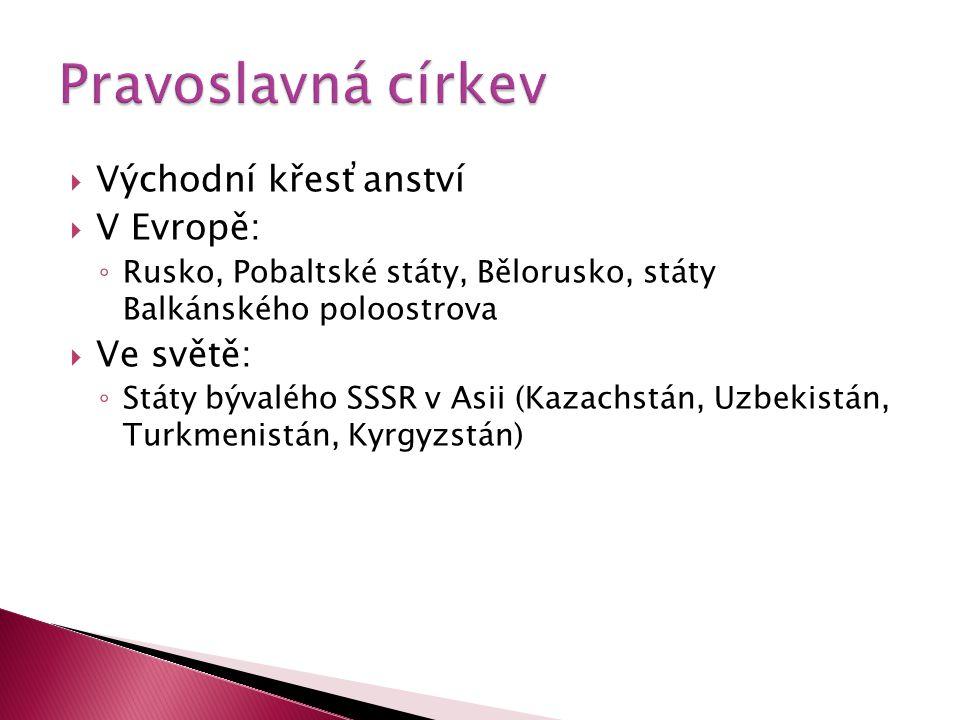  Východní křesťanství  V Evropě: ◦ Rusko, Pobaltské státy, Bělorusko, státy Balkánského poloostrova  Ve světě: ◦ Státy bývalého SSSR v Asii (Kazach