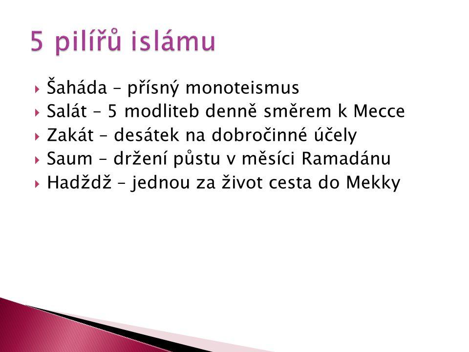  Šaháda – přísný monoteismus  Salát – 5 modliteb denně směrem k Mecce  Zakát – desátek na dobročinné účely  Saum – držení půstu v měsíci Ramadánu