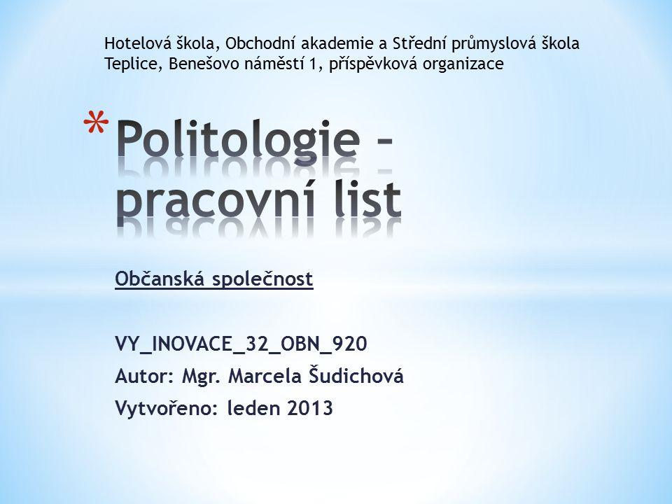 Občanská společnost VY_INOVACE_32_OBN_920 Autor: Mgr.