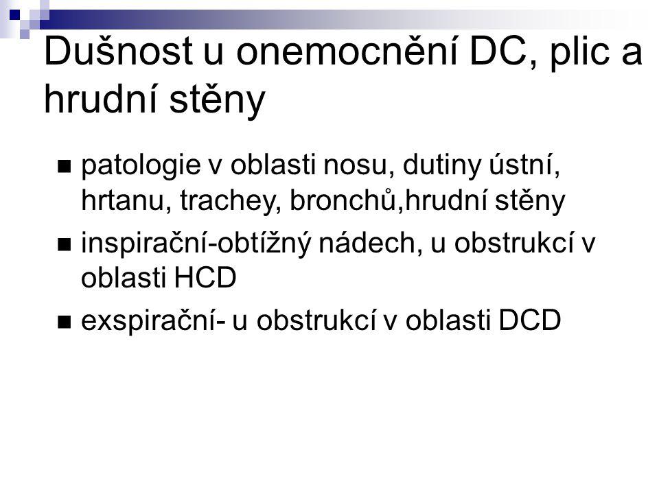 Dušnost u onemocnění DC, plic a hrudní stěny patologie v oblasti nosu, dutiny ústní, hrtanu, trachey, bronchů,hrudní stěny inspirační-obtížný nádech, u obstrukcí v oblasti HCD exspirační- u obstrukcí v oblasti DCD
