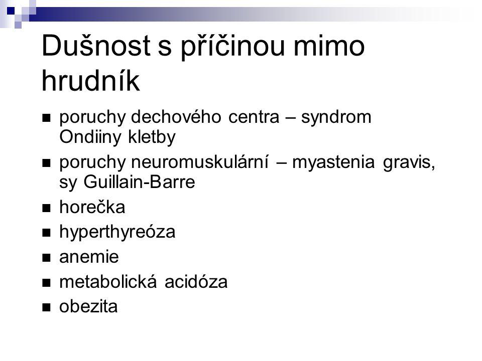 Dušnost s příčinou mimo hrudník poruchy dechového centra – syndrom Ondiiny kletby poruchy neuromuskulární – myastenia gravis, sy Guillain-Barre horečka hyperthyreóza anemie metabolická acidóza obezita