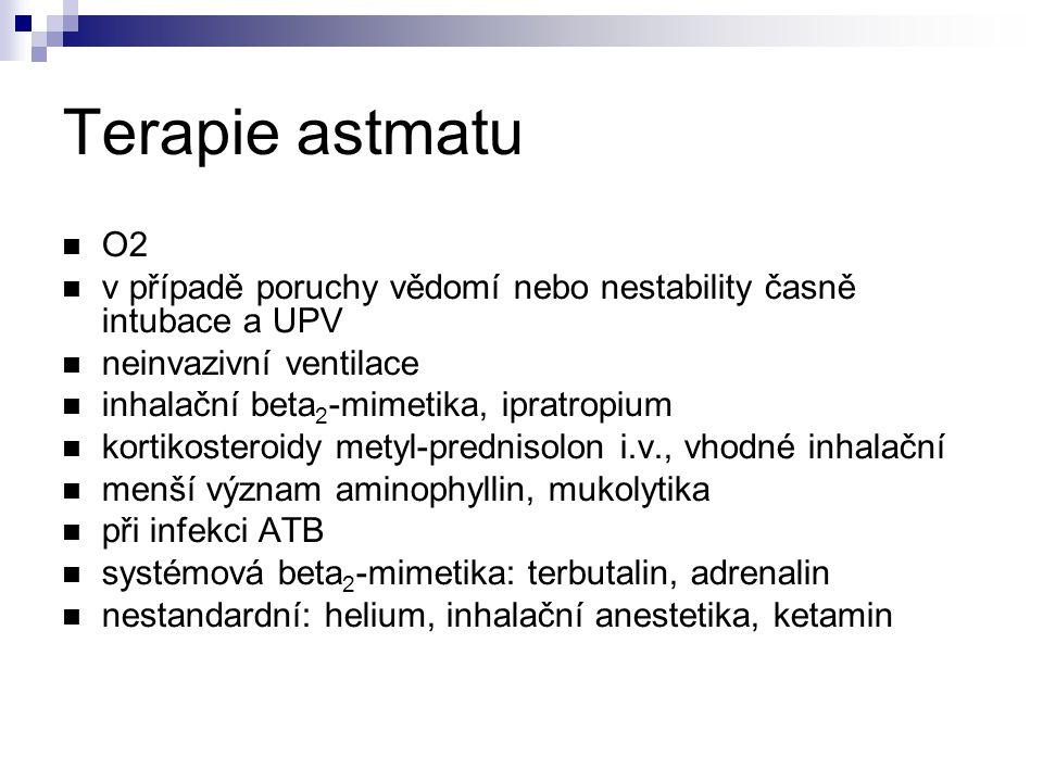 Terapie astmatu O2 v případě poruchy vědomí nebo nestability časně intubace a UPV neinvazivní ventilace inhalační beta 2 -mimetika, ipratropium kortikosteroidy metyl-prednisolon i.v., vhodné inhalační menší význam aminophyllin, mukolytika při infekci ATB systémová beta 2 -mimetika: terbutalin, adrenalin nestandardní: helium, inhalační anestetika, ketamin