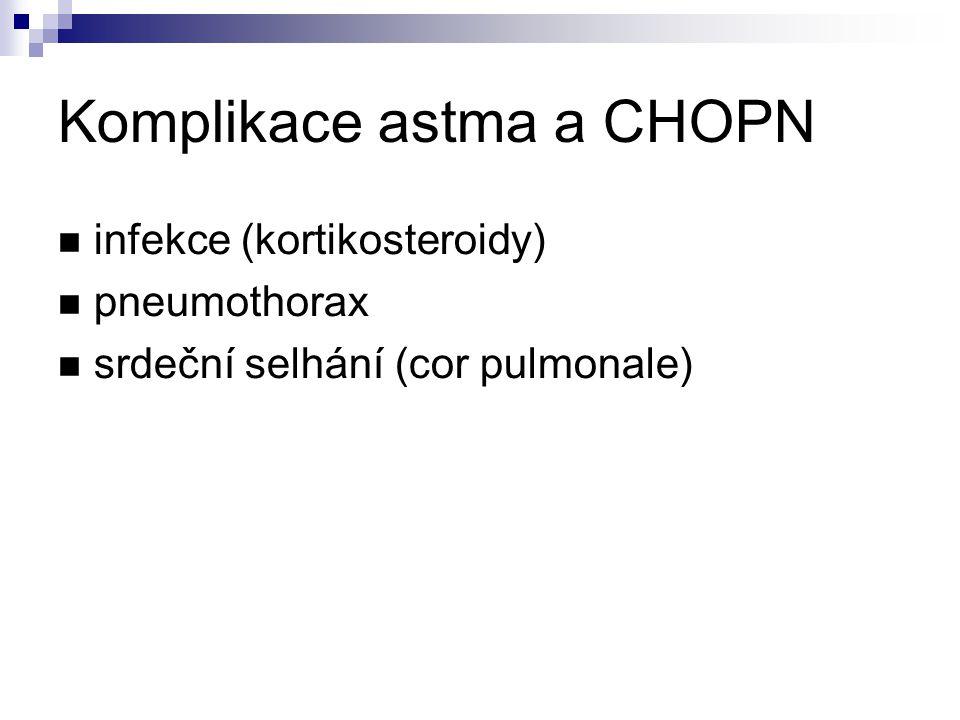 Komplikace astma a CHOPN infekce (kortikosteroidy) pneumothorax srdeční selhání (cor pulmonale)