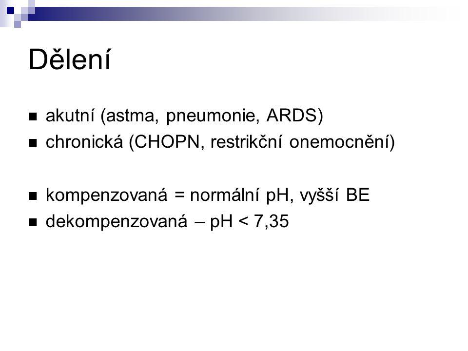 Dělení akutní (astma, pneumonie, ARDS) chronická (CHOPN, restrikční onemocnění) kompenzovaná = normální pH, vyšší BE dekompenzovaná – pH < 7,35