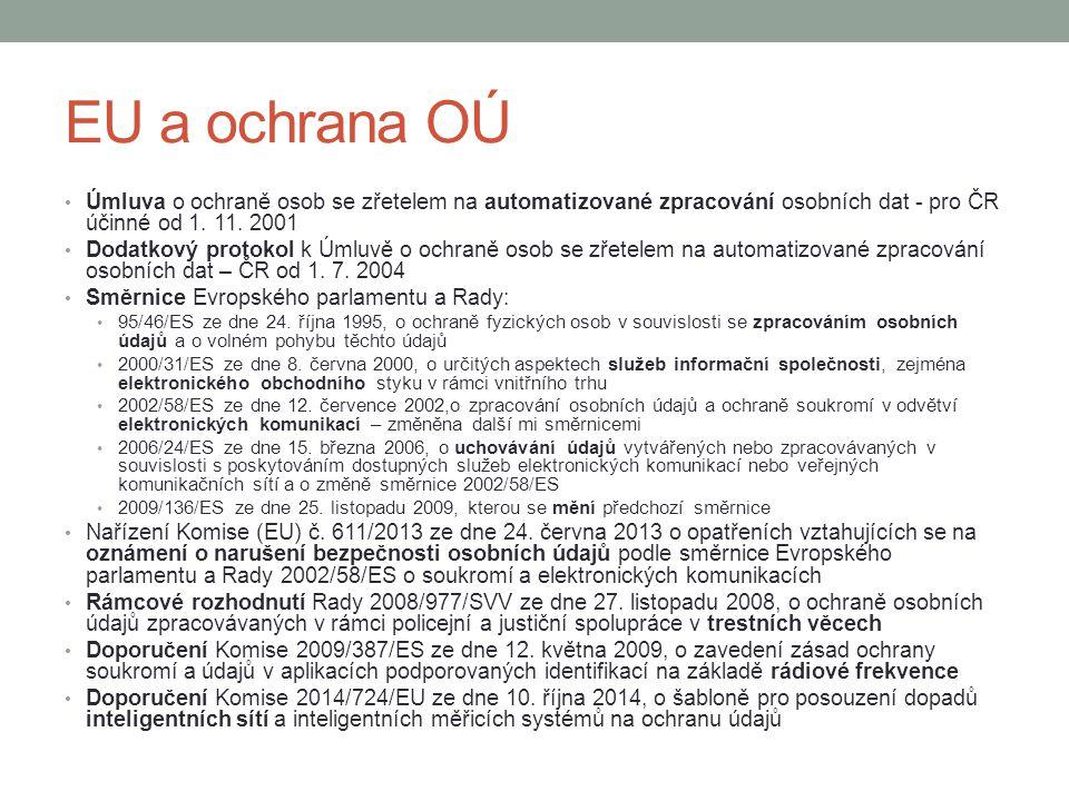 EU a ochrana OÚ Úmluva o ochraně osob se zřetelem na automatizované zpracování osobních dat - pro ČR účinné od 1. 11. 2001 Dodatkový protokol k Úmluvě