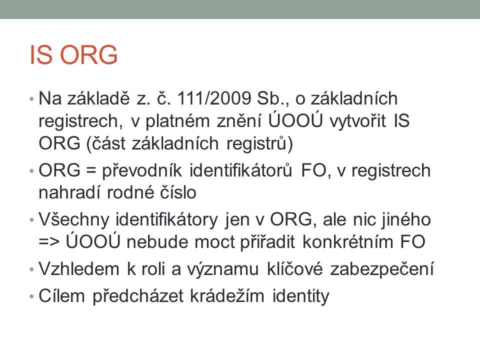 IS ORG Na základě z. č. 111/2009 Sb., o základních registrech, v platném znění ÚOOÚ vytvořit IS ORG (část základních registrů) ORG = převodník identif