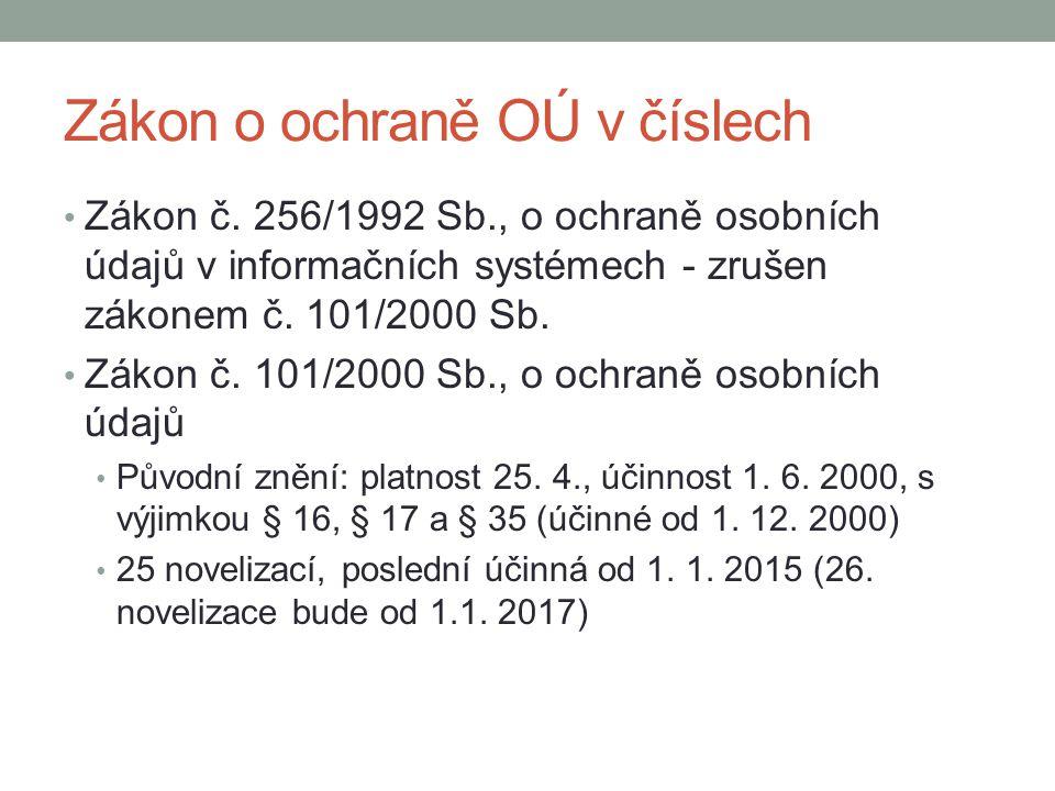 Zákon o ochraně OÚ v číslech Zákon č. 256/1992 Sb., o ochraně osobních údajů v informačních systémech - zrušen zákonem č. 101/2000 Sb. Zákon č. 101/20