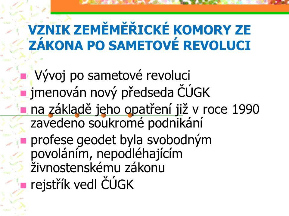 VZNIK ZEMĚMĚŘICKÉ KOMORY ZE ZÁKONA PO SAMETOVÉ REVOLUCI Vývoj po sametové revoluci jmenován nový předseda ČÚGK na základě jeho opatření již v roce 199