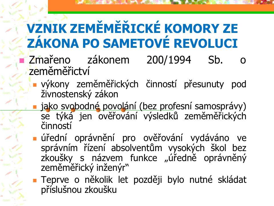 VZNIK ZEMĚMĚŘICKÉ KOMORY ZE ZÁKONA PO SAMETOVÉ REVOLUCI Zmařeno zákonem 200/1994 Sb. o zeměměřictví výkony zeměměřických činností přesunuty pod živnos