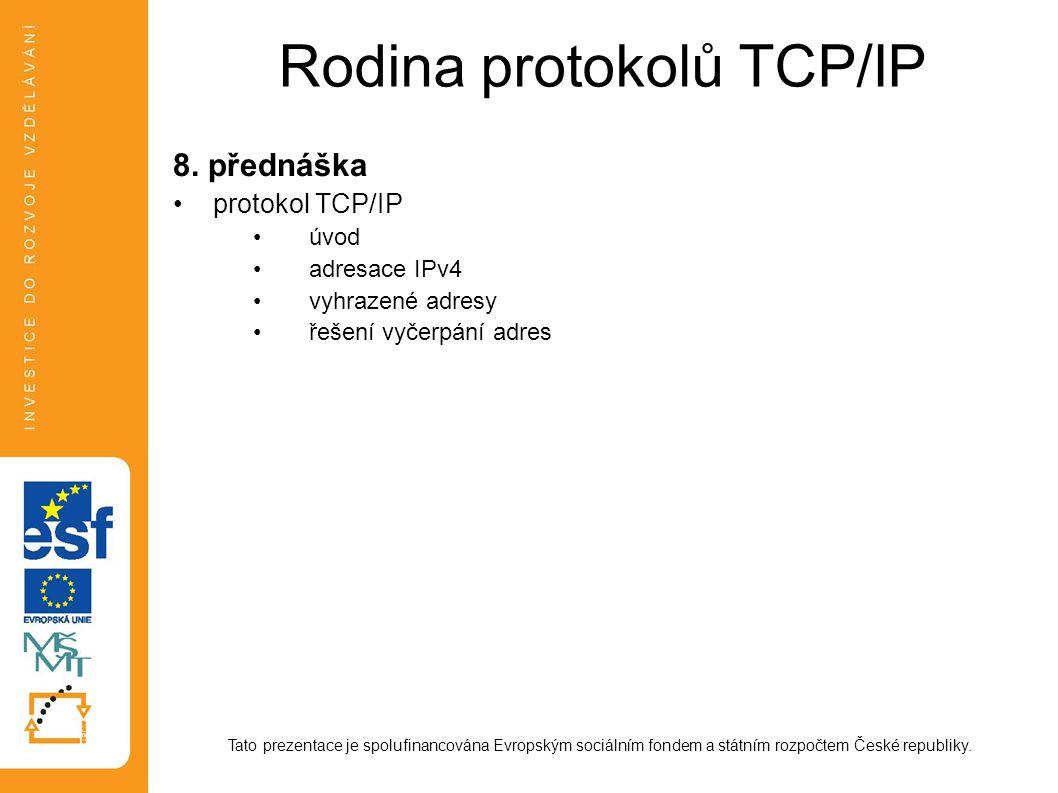 Rodina protokolů TCP/IP 8. přednáška protokol TCP/IP úvod adresace IPv4 vyhrazené adresy řešení vyčerpání adres Tato prezentace je spolufinancována Ev