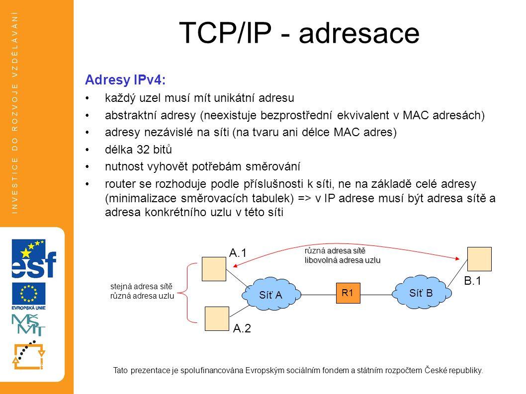 TCP/IP - adresace Tato prezentace je spolufinancována Evropským sociálním fondem a státním rozpočtem České republiky. Adresy IPv4: každý uzel musí mít