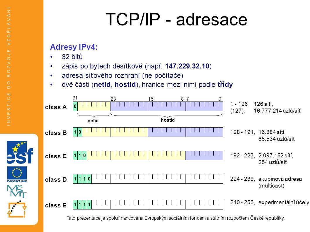 TCP/IP - adresace Tato prezentace je spolufinancována Evropským sociálním fondem a státním rozpočtem České republiky. Adresy IPv4: 32 bitů zápis po by