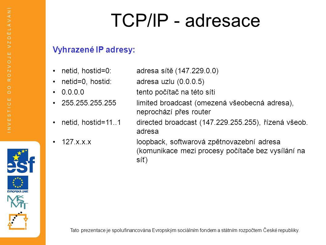 TCP/IP - adresace Tato prezentace je spolufinancována Evropským sociálním fondem a státním rozpočtem České republiky. Vyhrazené IP adresy: netid, host