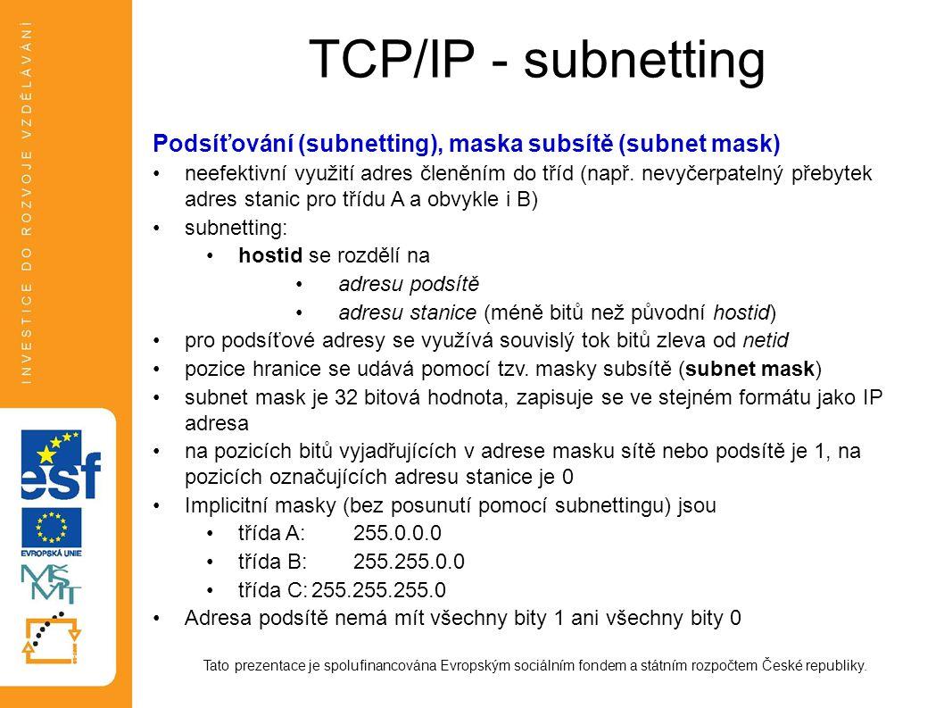 TCP/IP - subnetting Tato prezentace je spolufinancována Evropským sociálním fondem a státním rozpočtem České republiky. Podsíťování (subnetting), mask