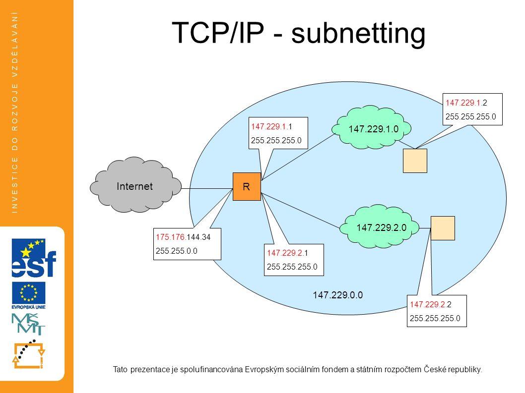 TCP/IP - subnetting Tato prezentace je spolufinancována Evropským sociálním fondem a státním rozpočtem České republiky. Internet R 147.229.1.0147.229.