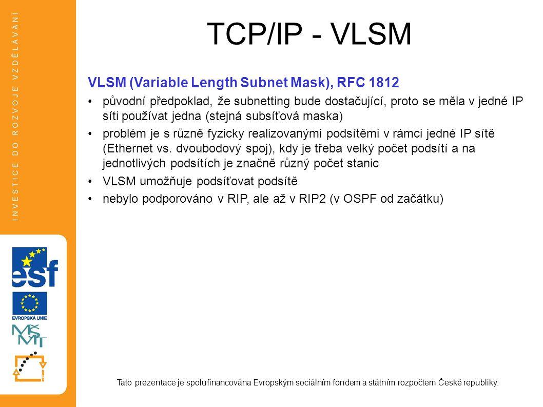 TCP/IP - VLSM Tato prezentace je spolufinancována Evropským sociálním fondem a státním rozpočtem České republiky. VLSM (Variable Length Subnet Mask),