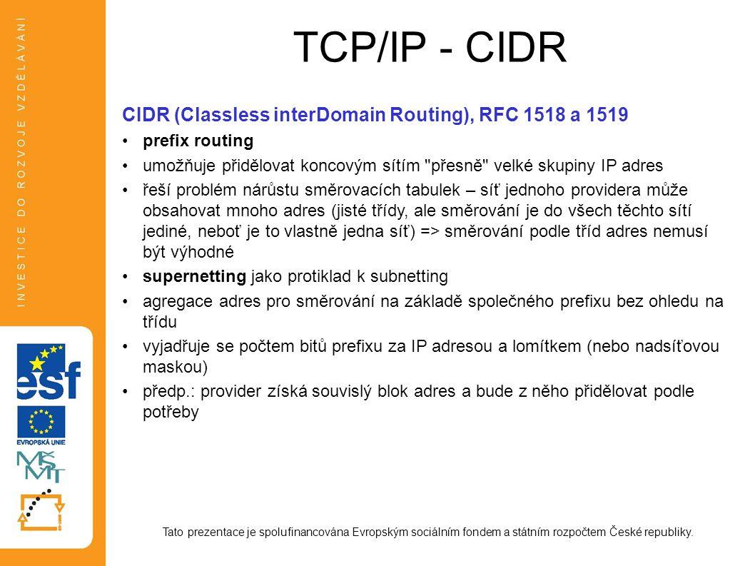 TCP/IP - CIDR Tato prezentace je spolufinancována Evropským sociálním fondem a státním rozpočtem České republiky. CIDR (Classless interDomain Routing)