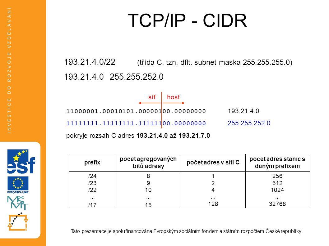 TCP/IP - CIDR Tato prezentace je spolufinancována Evropským sociálním fondem a státním rozpočtem České republiky. 193.21.4.0/22 (třída C, tzn. dflt. s