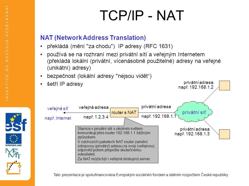 TCP/IP - NAT Tato prezentace je spolufinancována Evropským sociálním fondem a státním rozpočtem České republiky. NAT (Network Address Translation) pře