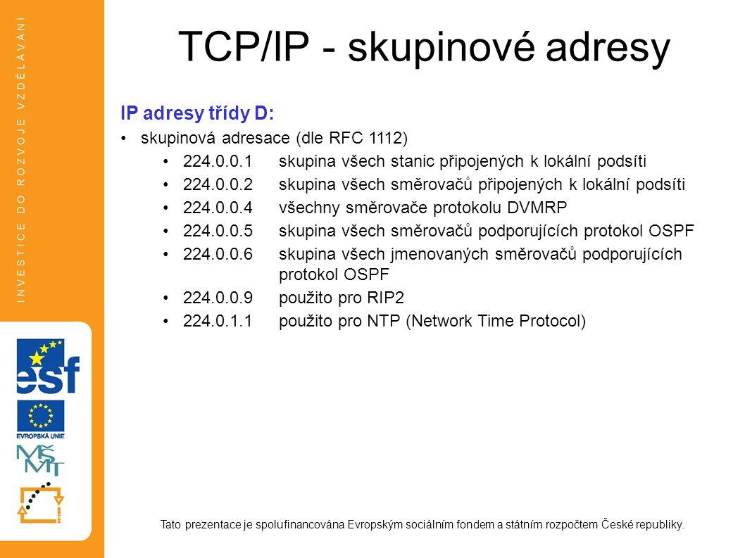 TCP/IP - skupinové adresy Tato prezentace je spolufinancována Evropským sociálním fondem a státním rozpočtem České republiky. IP adresy třídy D: skupi
